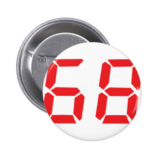 68 sixty-eight red alarm clock digital number pinback buttons