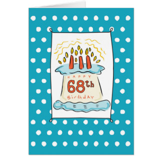 68th Birthday Cake on Blue Teal with Dots Card
