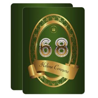 68th,birthday party woman man,elegant color card