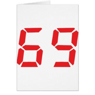 69 sixty-nine red alarm clock digital number card