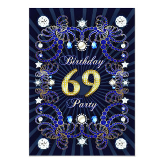 69th birthday party invite with masses of jewels