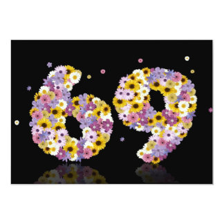 69th Birthday party, with flowered letters Card