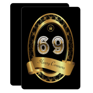 69th,birthday party woman man,elegant color card