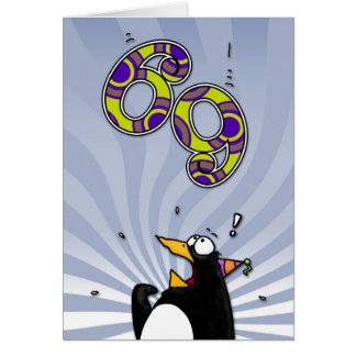 69th Birthday - Penguin Surprise Card