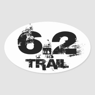 6.2 Trail Running Oval Decal Black On White Oval Sticker