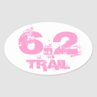 6.2 Trail Running Oval Decal Pink On White Oval Sticker