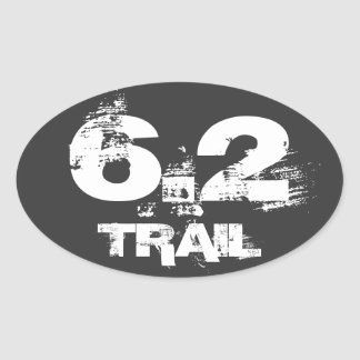 6.2 Trail Running Oval Decal White On Black Oval Sticker