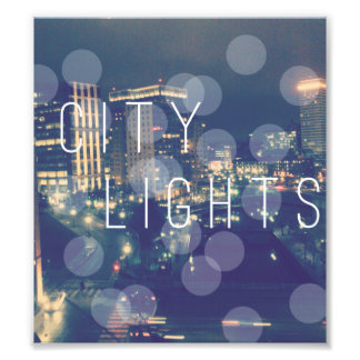 "6.39"" x 7.12"" Edit Print: City Lights Photo Art"