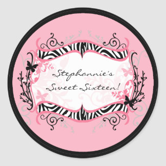 6 - 3 Favor Stickers Girly Butterfly Zebra Print