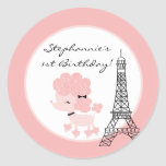 "6 - 3""  Favour Stickers Pink Poodle in Paris"