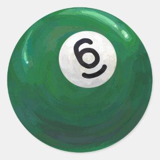 6 Ball Classic Round Sticker