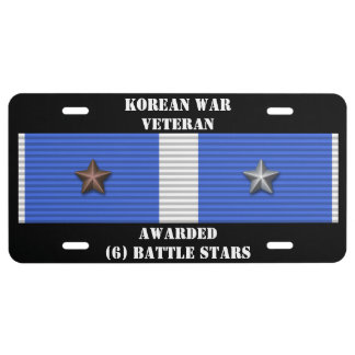 6 BATTLE STARS KOREAN WAR VETERAN LICENSE PLATE