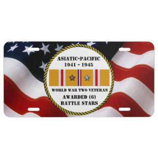 6 BATTLE STARS WWII Asiatic Pacific Veteran License Plate