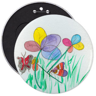 "6"" colossal round button w/ abstract flower design"