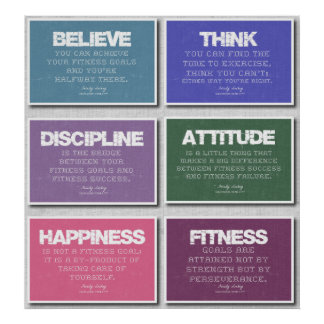 6 Fitness Quotes Poster in Pastels