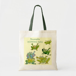 6 Funny Cartoon Frogs Go Green Tote Bag