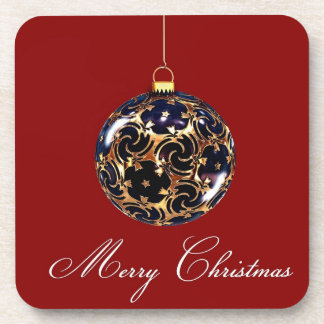 6 Merry Christmas Decoration Coaster wth cork back
