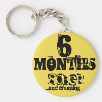 6 Months Sobriety Keychain