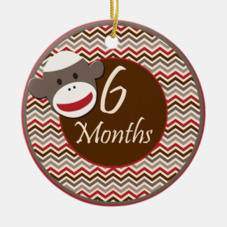 6 Months Sock Monkey Milestone Round Ceramic Ornament