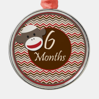6 Months Sock Monkey Milestone Silver-Colored Round Ornament