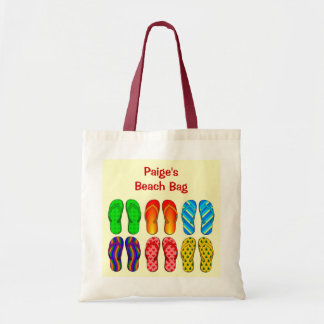 6 Pairs Colorful Beach Flip Flops Shoes Custom Budget Tote Bag