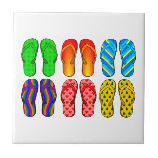 6 Pairs of Summer flipflops Pattern Tiles