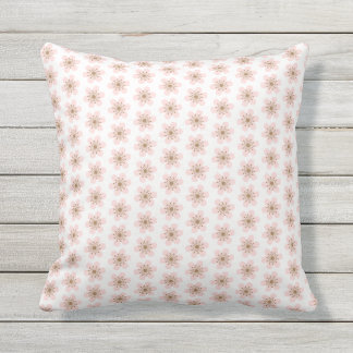 6 Petal Cherry Blossom, small, Pink and white Outdoor Pillow