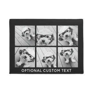 6 Photo Collage Optional Text -- CAN Edit Color Doormat