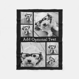 6 Photo Collage Optional Text -- CAN Edit Colour Fleece Blanket