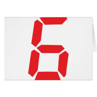6 six red alarm clock digital number card