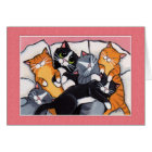 6 Sleepy Cats in the Bed - Cat Art Cards