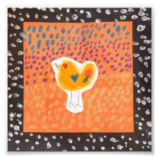 """6"""" x 6"""" Orange & Black Chicken Print"""