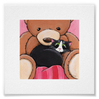 """6"""" x 6"""" Whimsical Cat Art 