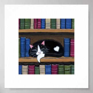 "6"" x 6"" | Whimsical Cat Art | Sleeping Book Cat Poster"