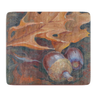 "6"" x 7"" glass cutting board leaves and acorns ."