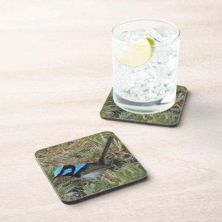 6 x Bluebird Coasters; Hard Plastic, cork back Drink Coaster
