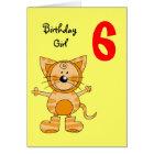 6 year old birthday girl card