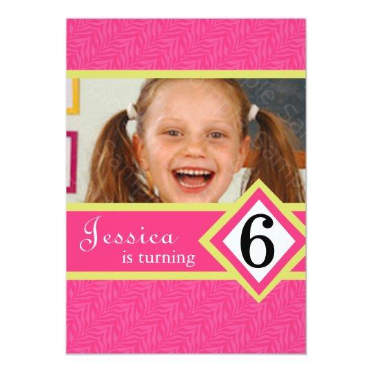 6 Year Old Birthday Party Invitations Zebra GIRL