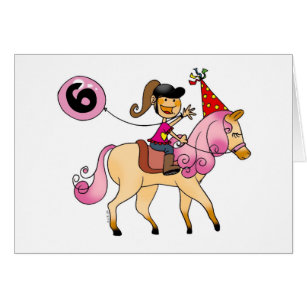 Girl 6 year birthday cards photocards invitations more 6 year old girl on a pony card bookmarktalkfo Image collections