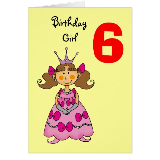6 year old princess (brown hair) card