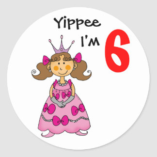 6 year old princess (brown hair) round sticker