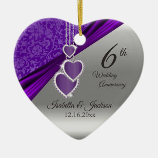 6th Amethyst Purple Wedding Anniversary Ceramic Ornament
