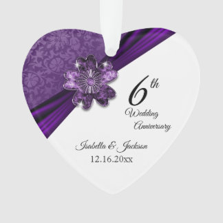 6th Amethyst Purple Wedding Anniversary Keepsake Ornament