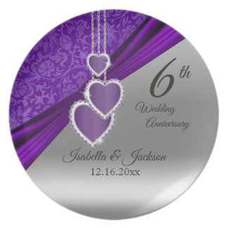6th Amethyst Purple Wedding Anniversary Keepsake Plate