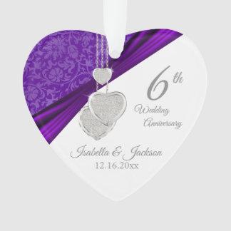 6th Amethyst Wedding Anniversary Keepsake Ornament