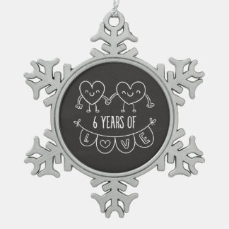 6th Anniversary Gift Chalk Hearts Snowflake Pewter Christmas Ornament