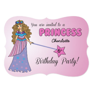 6th Bday Invitation Pink Princess w/ Sparkly Wand