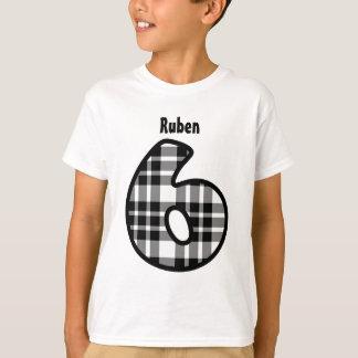 6th Birthday Boy BLACK PLAID Custom Name V01 T-Shirt