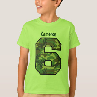 6th Birthday Boy Camo Four Year Custom Name V007F6 T-Shirt