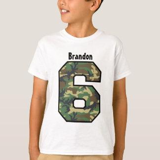 6th Birthday Boy Camo Four Year Custom Name V007F T-Shirt